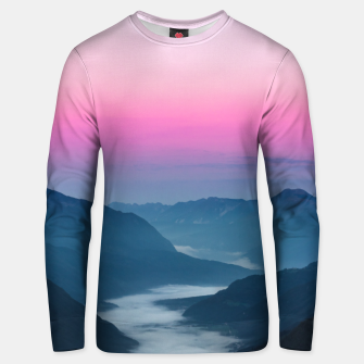 Thumbnail image of River of fog flowing through mountains at sunrise Unisex sweater, Live Heroes