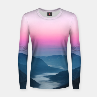 Thumbnail image of River of fog flowing through mountains at sunrise Women sweater, Live Heroes