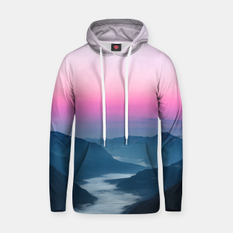 Thumbnail image of River of fog flowing through mountains at sunrise Hoodie, Live Heroes