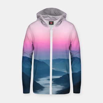 Thumbnail image of River of fog flowing through mountains at sunrise Zip up hoodie, Live Heroes