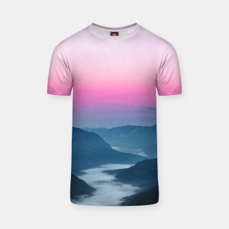 Thumbnail image of River of fog flowing through mountains at sunrise T-shirt, Live Heroes