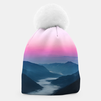 Thumbnail image of River of fog flowing through mountains at sunrise Beanie, Live Heroes