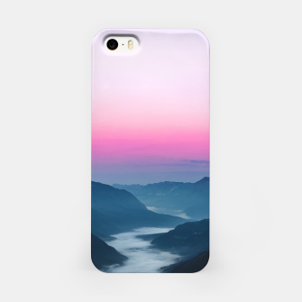 Thumbnail image of River of fog flowing through mountains at sunrise iPhone Case, Live Heroes