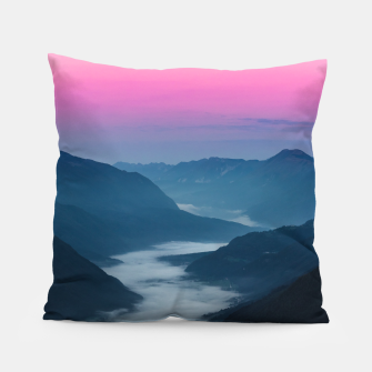 Thumbnail image of River of fog flowing through mountains at sunrise Pillow, Live Heroes
