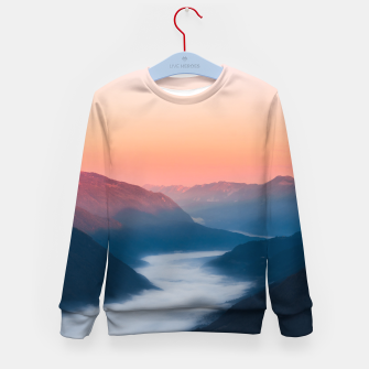 Imagen en miniatura de Foggy river Soča at sunrise Kid's sweater, Live Heroes