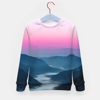 Thumbnail image of River of fog flowing through mountains at sunrise Kid's sweater, Live Heroes
