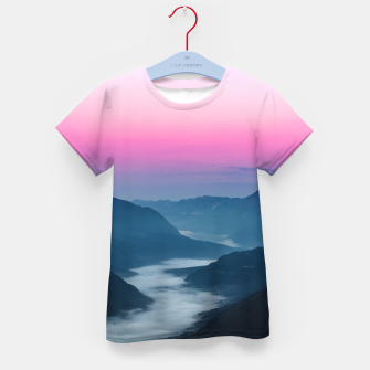 Thumbnail image of River of fog flowing through mountains at sunrise Kid's t-shirt, Live Heroes