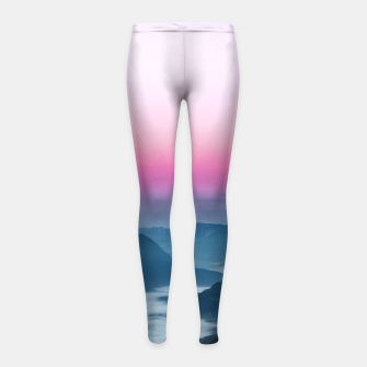Thumbnail image of River of fog flowing through mountains at sunrise Girl's leggings, Live Heroes