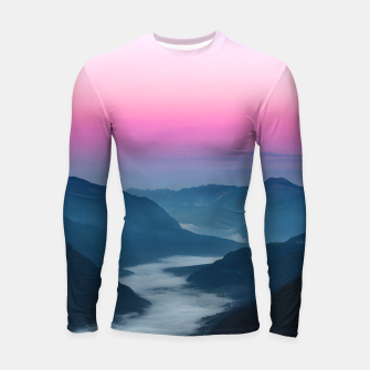 Thumbnail image of River of fog flowing through mountains at sunrise Longsleeve rashguard , Live Heroes
