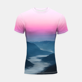 Thumbnail image of River of fog flowing through mountains at sunrise Shortsleeve rashguard, Live Heroes