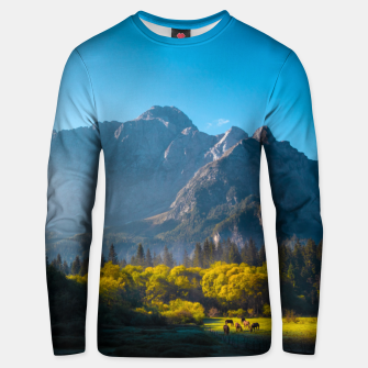Thumbnail image of Sun rising on horses at lake Fusine, Italy Unisex sweater, Live Heroes
