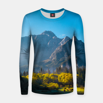 Thumbnail image of Sun rising on horses at lake Fusine, Italy Women sweater, Live Heroes
