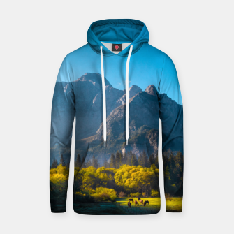 Thumbnail image of Sun rising on horses at lake Fusine, Italy Hoodie, Live Heroes
