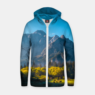Thumbnail image of Sun rising on horses at lake Fusine, Italy Zip up hoodie, Live Heroes