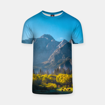 Thumbnail image of Sun rising on horses at lake Fusine, Italy T-shirt, Live Heroes