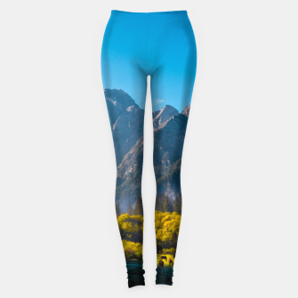 Thumbnail image of Sun rising on horses at lake Fusine, Italy Leggings, Live Heroes