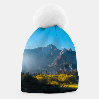 Thumbnail image of Sun rising on horses at lake Fusine, Italy Beanie, Live Heroes