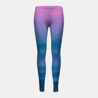 Imagen en miniatura de Bright clouds and moon at sunrise Girl's leggings, Live Heroes