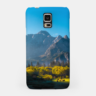 Thumbnail image of Sun rising on horses at lake Fusine, Italy Samsung Case, Live Heroes