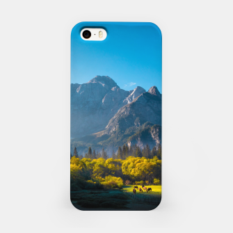 Thumbnail image of Sun rising on horses at lake Fusine, Italy iPhone Case, Live Heroes