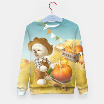 Imagen en miniatura de Smile Dog with Wheelbarrow Kid's sweater, Live Heroes
