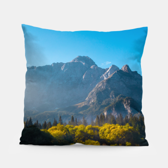 Thumbnail image of Sun rising on horses at lake Fusine, Italy Pillow, Live Heroes