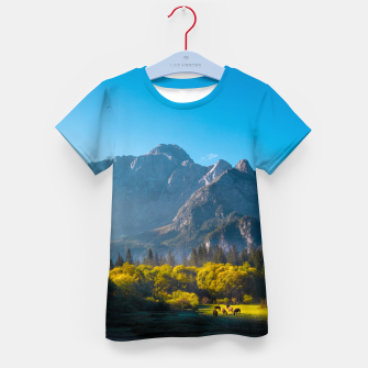 Thumbnail image of Sun rising on horses at lake Fusine, Italy Kid's t-shirt, Live Heroes