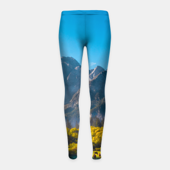 Thumbnail image of Sun rising on horses at lake Fusine, Italy Girl's leggings, Live Heroes