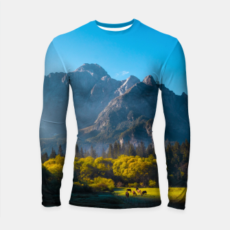 Thumbnail image of Sun rising on horses at lake Fusine, Italy Longsleeve rashguard , Live Heroes