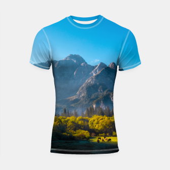 Thumbnail image of Sun rising on horses at lake Fusine, Italy Shortsleeve rashguard, Live Heroes