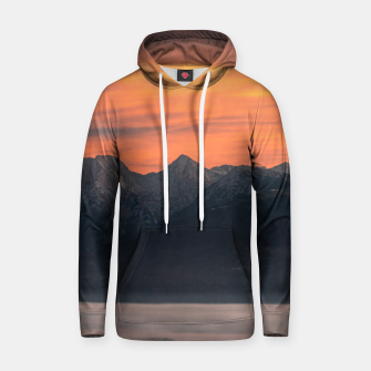 Thumbnail image of Sunrise behind majestic mountains Hoodie, Live Heroes