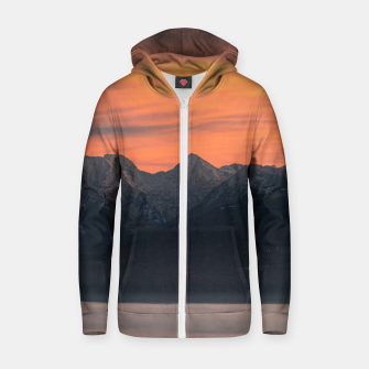Thumbnail image of Sunrise behind majestic mountains Zip up hoodie, Live Heroes
