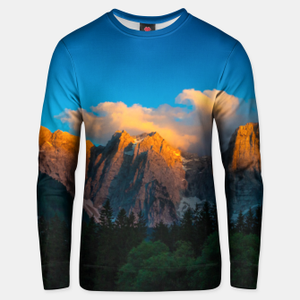 Thumbnail image of Amazing sunset at lago Di Fusine, Italy Unisex sweater, Live Heroes