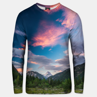 Amazing sunset clouds over mountain Mangart Unisex sweater thumbnail image