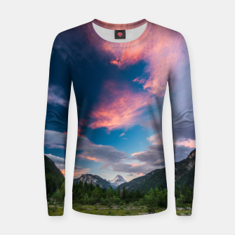 Amazing sunset clouds over mountain Mangart Women sweater thumbnail image