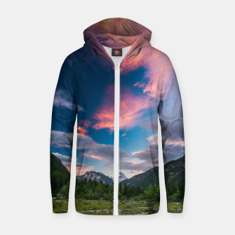 Amazing sunset clouds over mountain Mangart Zip up hoodie thumbnail image