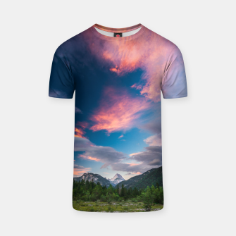 Miniatur Amazing sunset clouds over mountain Mangart T-shirt, Live Heroes