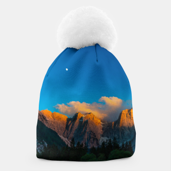 Thumbnail image of Amazing sunset at lago Di Fusine, Italy Beanie, Live Heroes