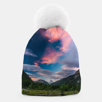 Miniatur Amazing sunset clouds over mountain Mangart Beanie, Live Heroes