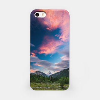 Miniatur Amazing sunset clouds over mountain Mangart iPhone Case, Live Heroes