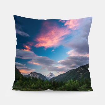 Amazing sunset clouds over mountain Mangart Pillow thumbnail image