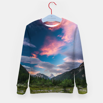 Imagen en miniatura de Amazing sunset clouds over mountain Mangart Kid's sweater, Live Heroes
