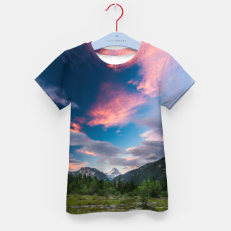 Amazing sunset clouds over mountain Mangart Kid's t-shirt thumbnail image