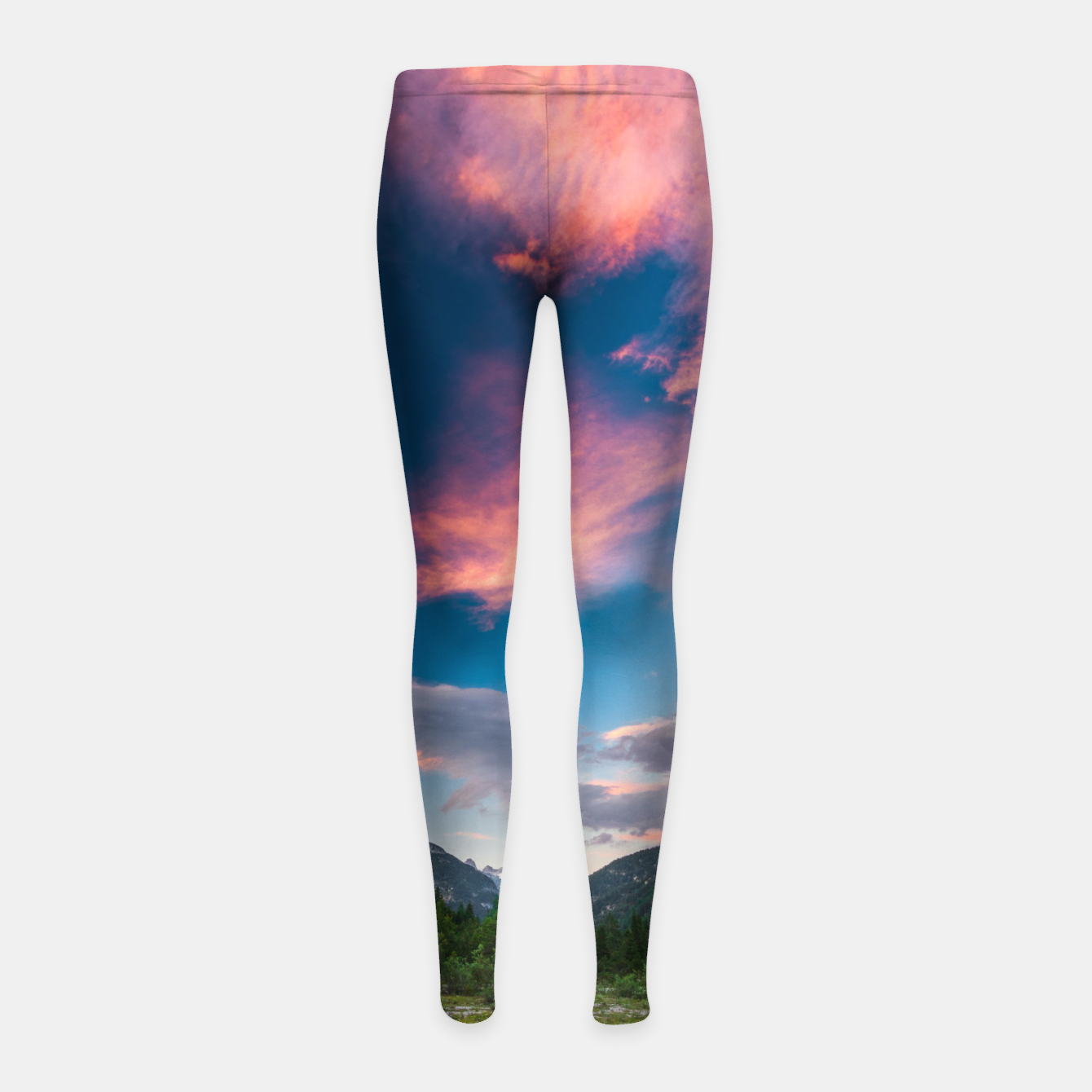 Image of Amazing sunset clouds over mountain Mangart Girl's leggings - Live Heroes