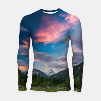 Miniatur Amazing sunset clouds over mountain Mangart Longsleeve rashguard , Live Heroes