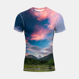 Amazing sunset clouds over mountain Mangart Shortsleeve rashguard thumbnail image