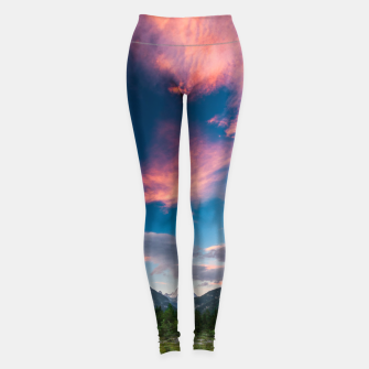 Amazing sunset clouds over mountain Mangart Leggings thumbnail image