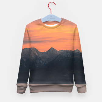 Imagen en miniatura de Sunrise behind majestic mountains Kid's sweater, Live Heroes