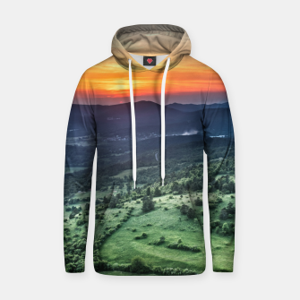 Thumbnail image of Beautiful sunset behind green fields Hoodie, Live Heroes