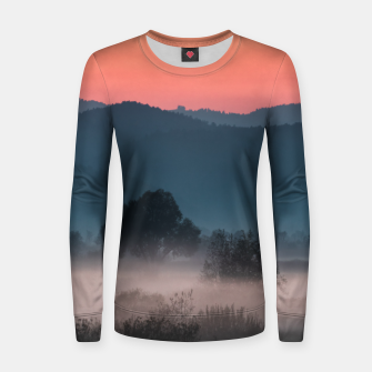 Imagen en miniatura de Foggy landscape at sunset Women sweater, Live Heroes